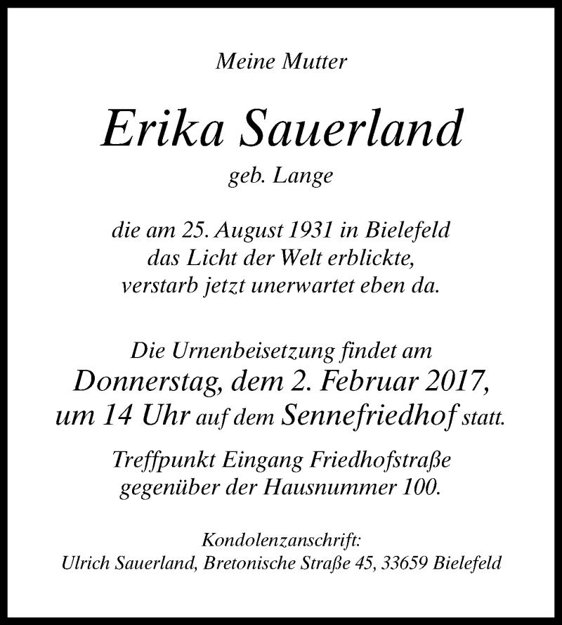 Erika sauerland heute