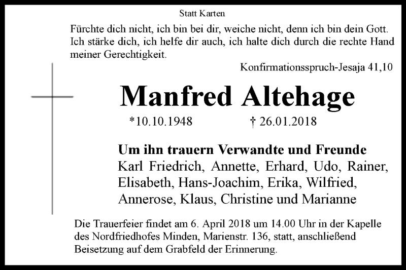 Konfirmationsspruch Karte.Gedenkseite Von Manfred Altehage Www Wb Trauer De