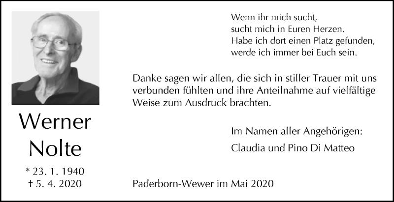 Traueranzeigen Von Werner Nolte Www Westfalen Blatt De